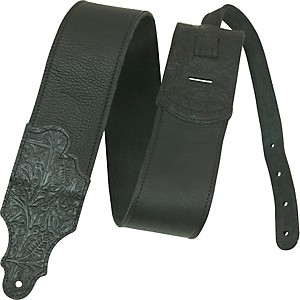 Franklin-Strap-3--Black-Leather-Guitar-Strap-With-Tooled-Ends-Standard