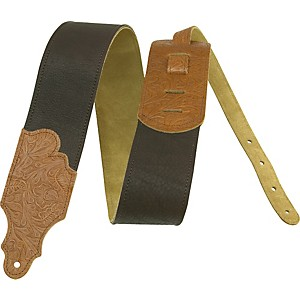 Franklin-Strap-3--Chocolate-Leather-Guitar-Strap-with-Caramel-Tooled-Ends-Standard