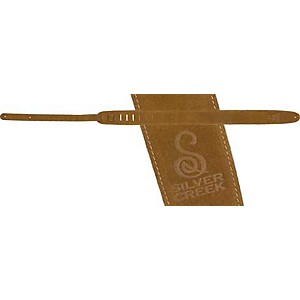 Silver-Creek-Suede-Guitar-Strap-with-Logo-Brown