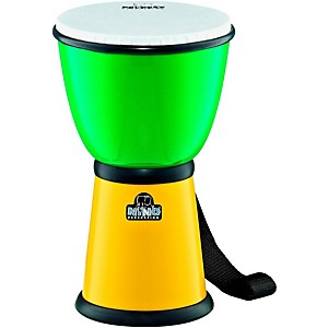 Nino-ABS-Djembe-with-Nylon-Strap-Green-Yellow-8-Inches