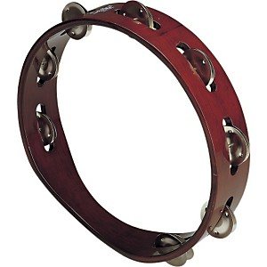 Schalloch-Wood-Tambourine---Single-Row-Brown