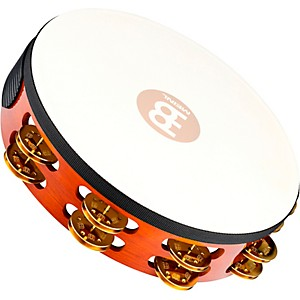 Meinl-Traditional-Goat-Skin-Wood-Tambourine-Two-Rows-Brass-Jingles