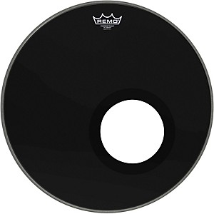 Remo-Ebony-Powerstroke-3-Resonant-Bass-Drum-Head-with-5--Port-Hole-Ebony-18-Inches