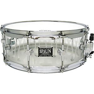 Spaun-Acrylic-Clear-Snare-Drum-with-Sandblasted-Flames-and-Chrome-Hardware-14X5-5