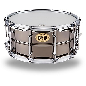Pork-Pie-Big-Black-Brass-Snare-Drum-with-Tube-Lugs-and-Chrome-Hardware-Black-6-5x14-Inch