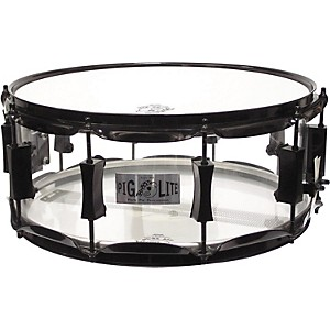 Pork-Pie-Acrylic-Snare-Drum-with-Black-Powder-Hardware-Clear-6x14-Inches