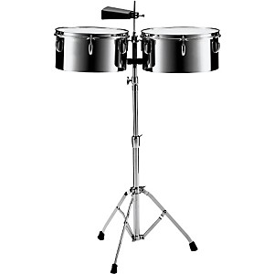 Pearl-PTS5134-13--and-14--Steel-Timbales-with-Cowbell-and-Stand-Standard