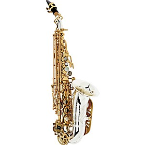 International-Woodwind-Model-601-Curved-Soprano-Saxophone-Silver-Plated-Bell-and-Body-with-Gold-Plated-Keys