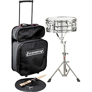 Ludwig-Jet-Pak-Snare-Drum-Kit-Concert-Drums-Le2474R--With-Rolling-Bag-And-Chrome-Lm300-Snare-