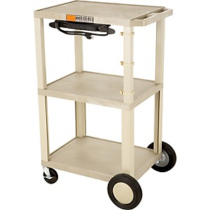 H--Wilson-Tuffy-Plastic-42--3-Shelf-Cart-Cabinet-20-Tan-With-Cabinet