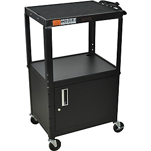 H--Wilson-Metal-26--to-42--3-Shelf-Cart-Cabinet-Black-W-Cabinet