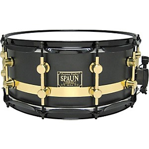 Spaun-Maple-Snare-Flat-Black-W--Chrome-Stripe-14X6-5