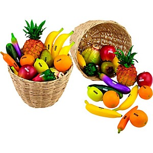 Nino-36-Piece-Fruit-and-Vegetable-Shakers-in-Basket-36-Pieces-Various-Colors