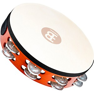 Meinl-Goat-Skin-Wood-Tambourine-Two-Rows-Aluminum-Jingles-African-Brown