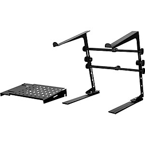 DR-PRO-DJ-Laptop-Stand-and-Shelf-Bundle-Black