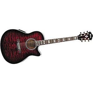 Ibanez-AEF37E-Cutaway-Acoustic-Electric-Guitar-Transparent-Cherry-Sunburst