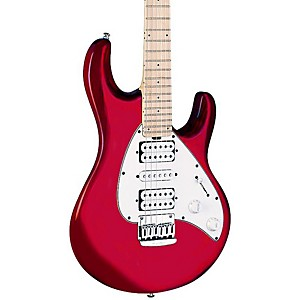 Music-Man-Silhouette-Non-Tremolo-Electric-Guitar-Candy-Red-Maple-Fretboard