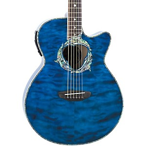 Luna-Guitars-Fauna-Series-Dolphin-Folk-Cutaway-Acoustic-Electric-Guitar-Transparent-Azure