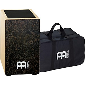 Meinl-String-Cajon-with-Bag-Black-Makah-Burl-Frontplate