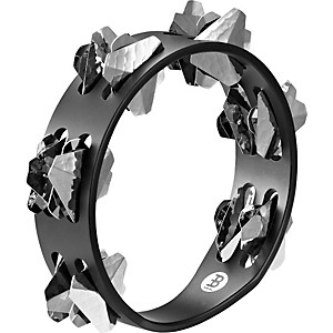 Meinl-Compact-Super-Dry-Wood-Tambourine-Two-Rows-Hand-Hammered-Stainless-Steel-Jingles-Black