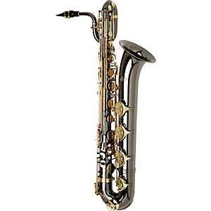 Allora-Paris-Series-Professional-Black-Nickel-Baritone-Saxophone-AABS-955---Black-Nickel-Body---Brass-Lacquer-Keys