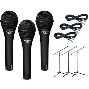 Audix-OM-5-Mic-with-Cable-and-Stand-3-Pack-Standard