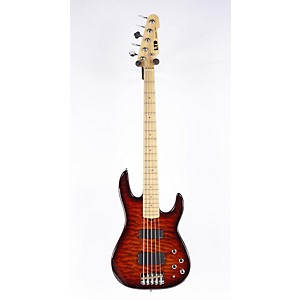 LTD-LTD-SURVEYOR-415-Quilted-Maple-5-String-Electric-Bass-Guitar-Dark-Brown-Sunburst-886830866685