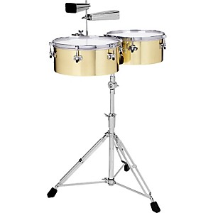 Gon-Bops-Alex-Acuna-Signature-Brass-Timbales-with-9600-Stand