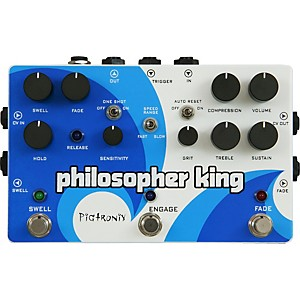 Pigtronix-Philosopher-King-Compressor-and-Sustainer-Guitar-Effects-Pedal-White-and-Blue