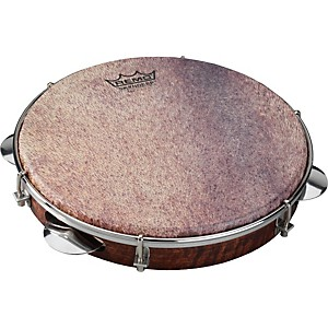 Remo-Samba-Choro-Pandeiro-with-Chrome-Jingles-Goat-Brown-10-In-x-1-78-In