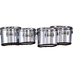 Pearl-Championship-Marching-Tom-Set-with-R-Ring--26-Brushed-Silver-10-12-13-14-set
