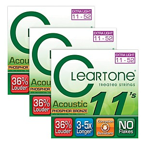 Cleartone-Cleartone-Coated-Extra-Light-Acoustic-Guitar-Strings-Buy-Two-Get-One-Free-Standard
