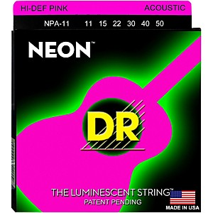 DR-Strings-NPA-11-NEON-Hi-Def-Phosphorescent-Pink-Acoustic-Strings-Medium-Light-Standard