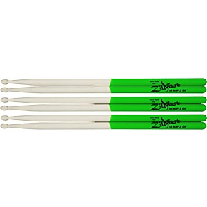Zildjian-Maple-Green-DIP-Drumsticks-3-Pack-5A-Wood-Tip