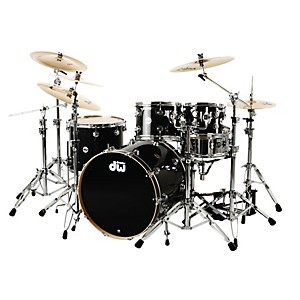 DW-Collector-s-Series-4-Piece-Shell-Pack-w-23--Bass-Drum-Black-Ice-Chrome-Hardware
