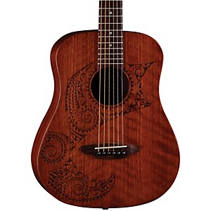 Luna-Guitars-Safari-Tattoo-3-4-Size-Travel-Guitar-Satin-Mahogany