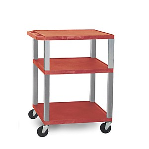 H--Wilson-Open-Shelf-Tuffy-Cart-Red-and-Nickel-Small