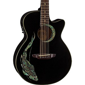 Luna-Guitars-Fauna-Folk-Acoustic-Electric-Guitar-Black-Koi-Design