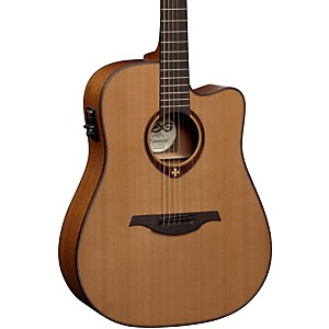 Lag-Guitars-T200DCE-Dreadnought-Cutaway-Acoustic-Electric-Guitar-Natural