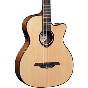 Lag-Guitars-TN66ACE-Nylon-String-Auditorium-Cutaway-Acoustic-Electric-Guitar-Natural