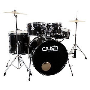 Crush-Drums---Percussion-Alpha-5-Piece-Drum-Set-with-Cymbals-Black-Sparkle-with-Chrome-Hardware