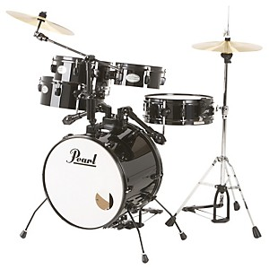 Pearl-Rhythm-Traveler-Drum-Set-with-Cymbals---Hardware-Jet-Black