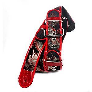 Jodi-Head-2--Roller-Buckle-Leather-Lined-Guitar-Strap-Black-Dragon--Brocade