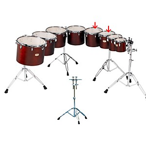Yamaha-Concert-Tom-Set-with-WS860A-Stand-Dark-Wood-Stain-10---12-Inch