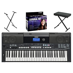 YAMAHA-PSRE433-Portable-Digital-Piano-with-Yamaha-D2-Survival-Kit--Bench----Stand-Standard