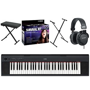 Yamaha-NP11-61-Key-Digital-Piano-w--Yamaha-D2-Survival-Kit--Bench--Stand----Headphones-Standard