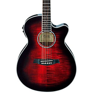 Ibanez-AEG20II-Flamed-Sycamore-Top-Cutaway-Acoustic-Electric-Guitar-Transparent-Red-Sunburst
