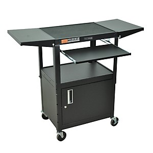 H--Wilson-Adjustable-Height-Cart-with-Keyboard-Tray--Locking-Cabinet-and-Drop-Leaf-Shelves-Standard