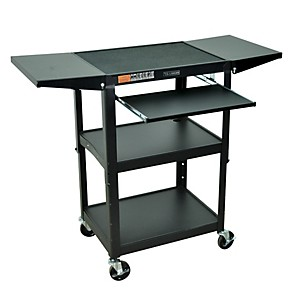 H--Wilson-Adjustable-Height-Cart-with-Keyboard-Tray-and-Drop-Leaf-Shelves-Standard