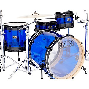 Spaun-Hybrid-3-Piece-Shell-Pack-with-Black-Hardware-Black-Sparkle-with-Blue-Acrylic